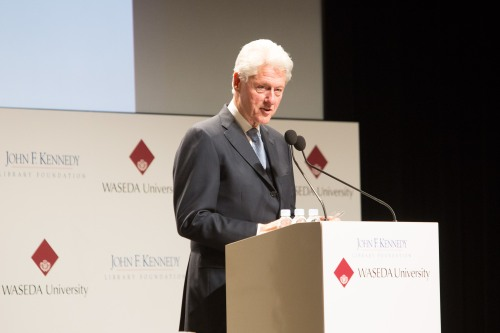 Former U.S. President Bill Clinton, speaking at a symposium in Tokyo, describes the lasting impact of John F. Kennedy's leadership.